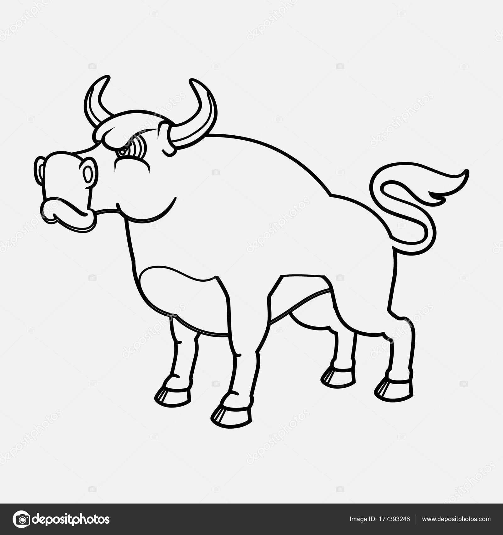Vector de contorno Toro logotipo aislado — Archivo Imágenes ...
