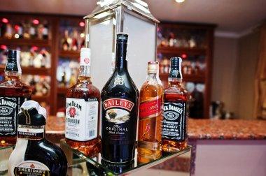 Hai, Ukraine - January 5, 2017: Different bottles on bar recepti