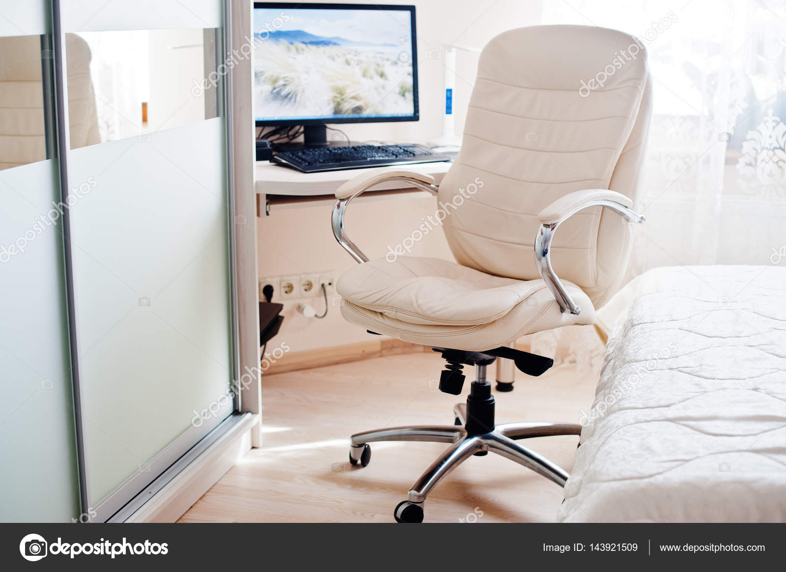 White Leather Luxury Office Chair Background Monitor Of