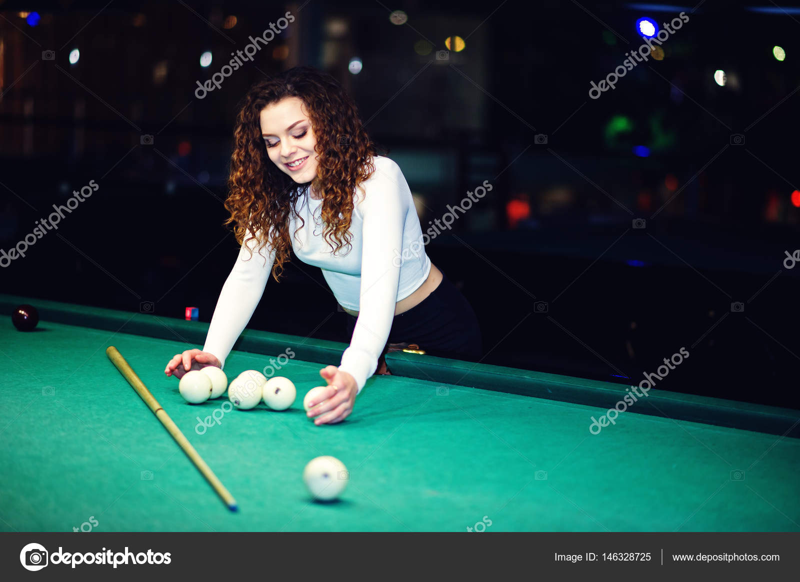 Young Curly Girl Posed Near Billiard Table Sexy Model At Black - Play pool table near me