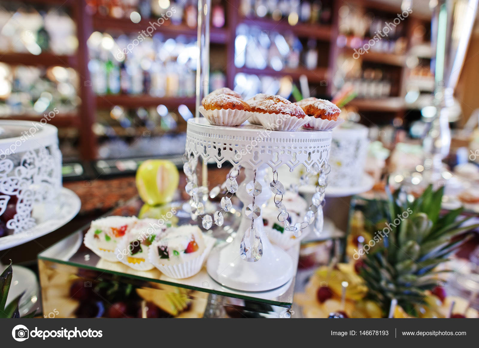 Wedding Reception Table With Different Fruits Cakes And Sweets