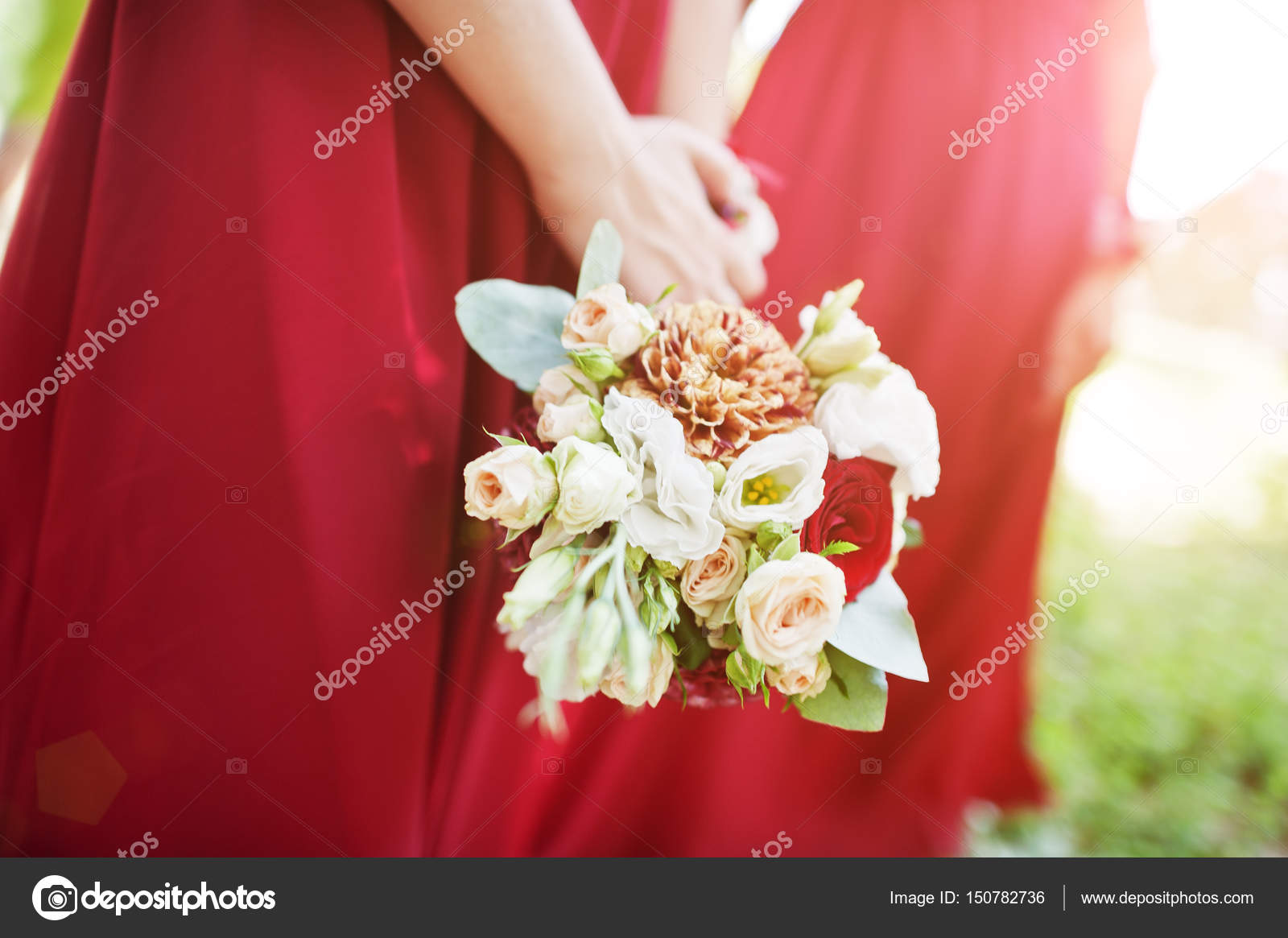 Hands Of Two Bridesmaids Wear On Red Dress With Wedding Bouquets Stock Photo C Asphoto777 150782736