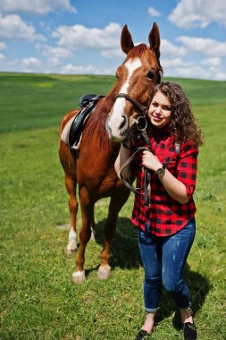 Young pretty girl stay with horse on a field at sunny day.