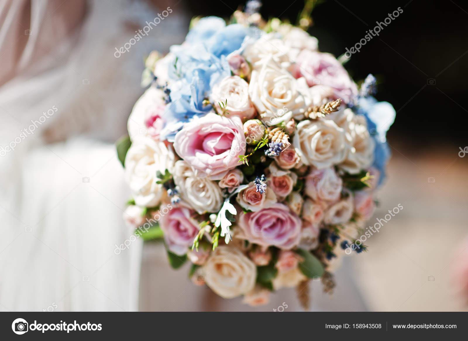 Amazing wedding bouquet made of roses hydrangeas and lavender i amazing wedding bouquet made of roses hydrangeas and lavender i stock photo izmirmasajfo