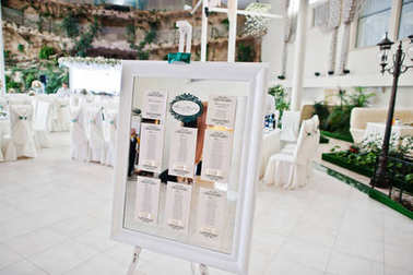Wedding white board with guest list on it.