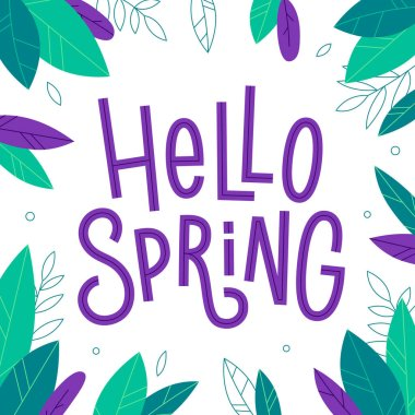 Hello Spring hand drawn inscription with leaves on the dark background. Vector cute seasonal phrase in flat style.