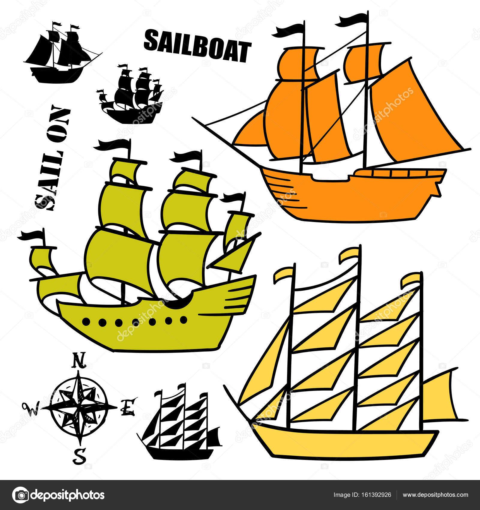 Basit Kroki Illüstrasyonlar Eski Yelkenliler Ayarla Korsan Gemi
