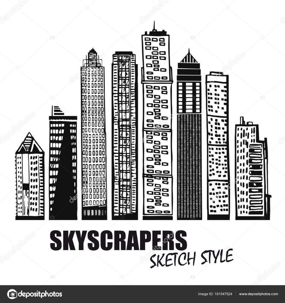 Insieme di edifici commerciali grattacieli di vettore for Piano di progettazione di edifici commerciali