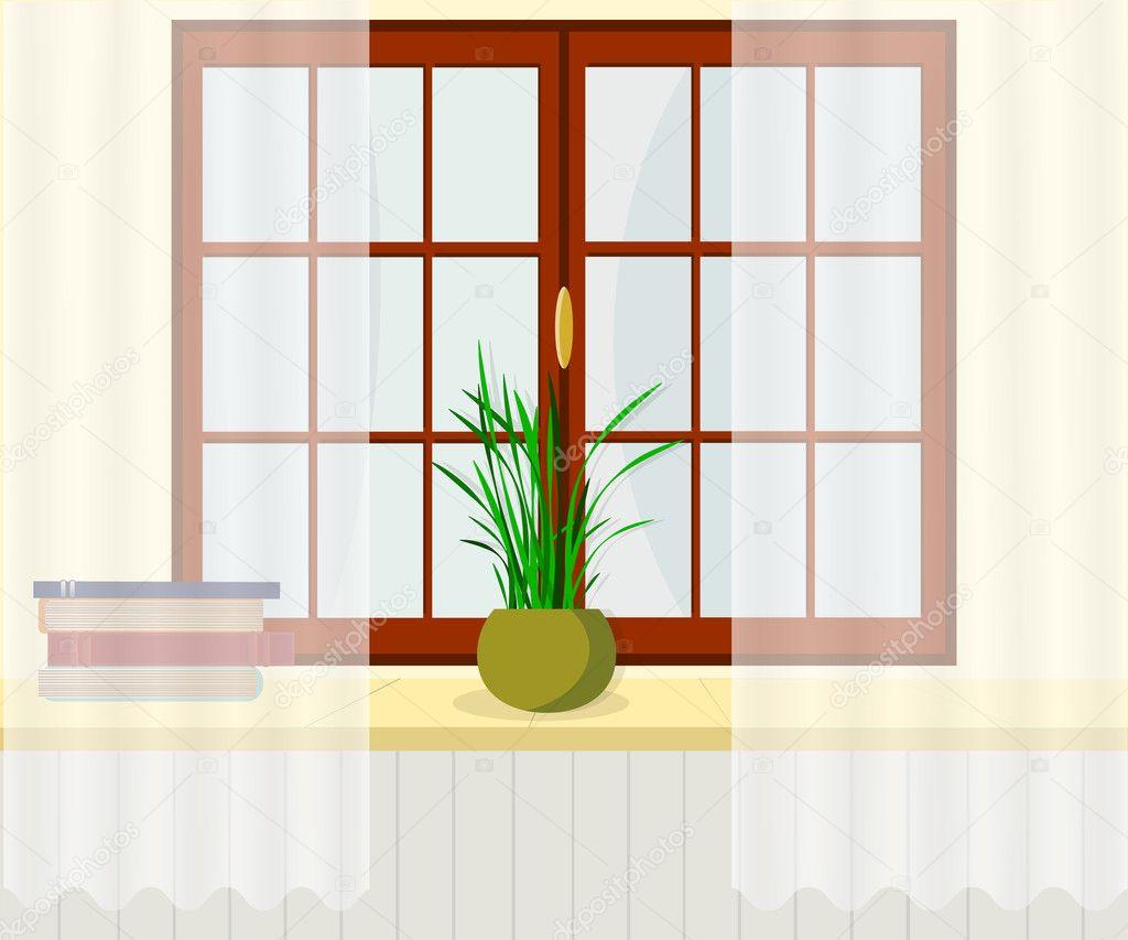 Innenraumfenster  Fenster mit Fensterbrett, Jalousien / Bücher und Pflanzen ...