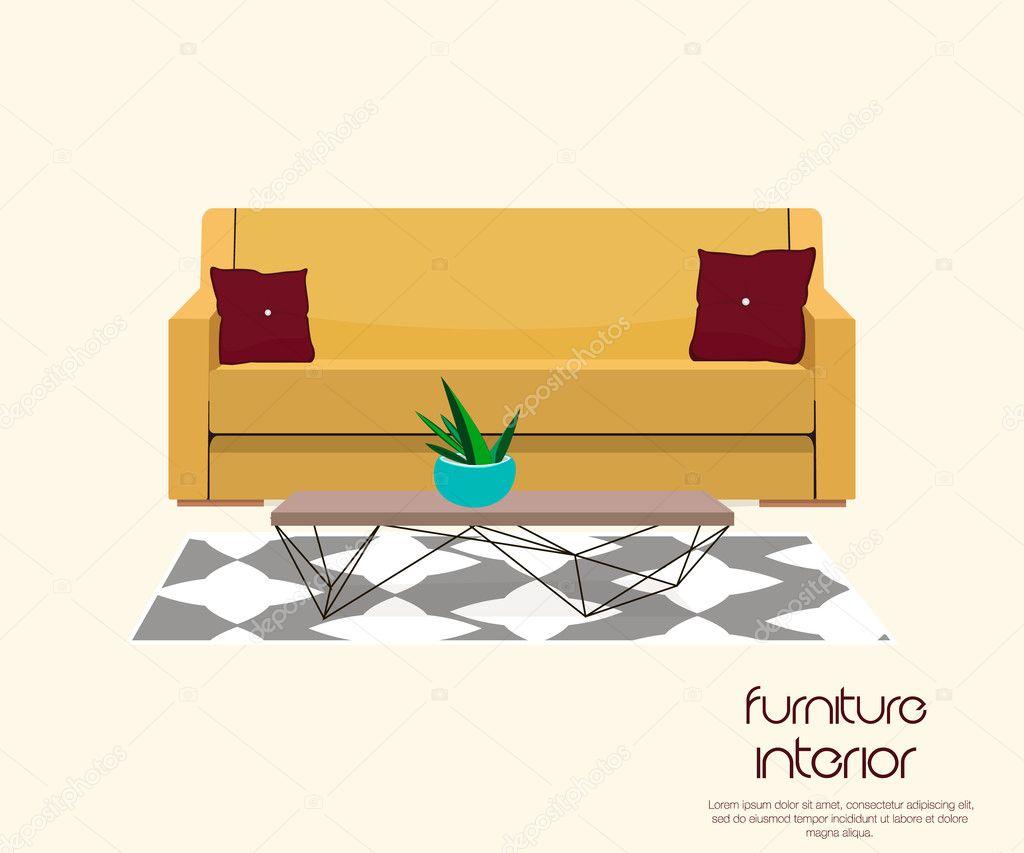 Wohnzimmer. Möbel-Design. Sofa mit Tisch — Stockvektor © SunnyGirl94 ...
