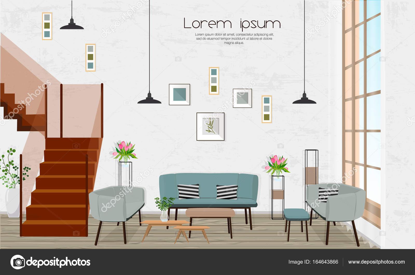 Möbel. Interior Design. Wohnzimmer mit Sofa, Treppen, Fenster ...