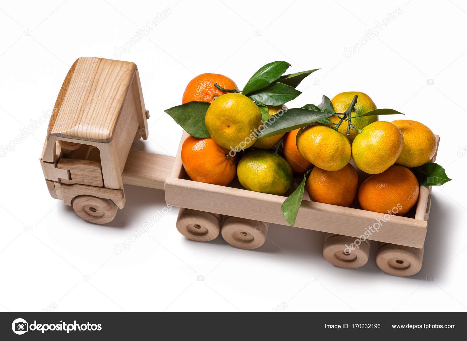 Clementine For Christmas.Toy Truck With Clementines And Tangerines For Christmas