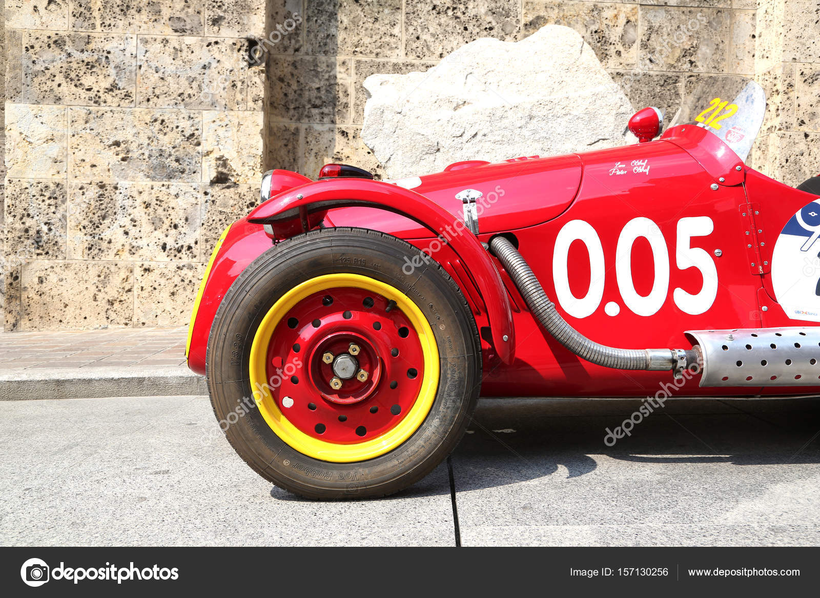 Detail of old sport car before Mille Miglia departure – Stock ...