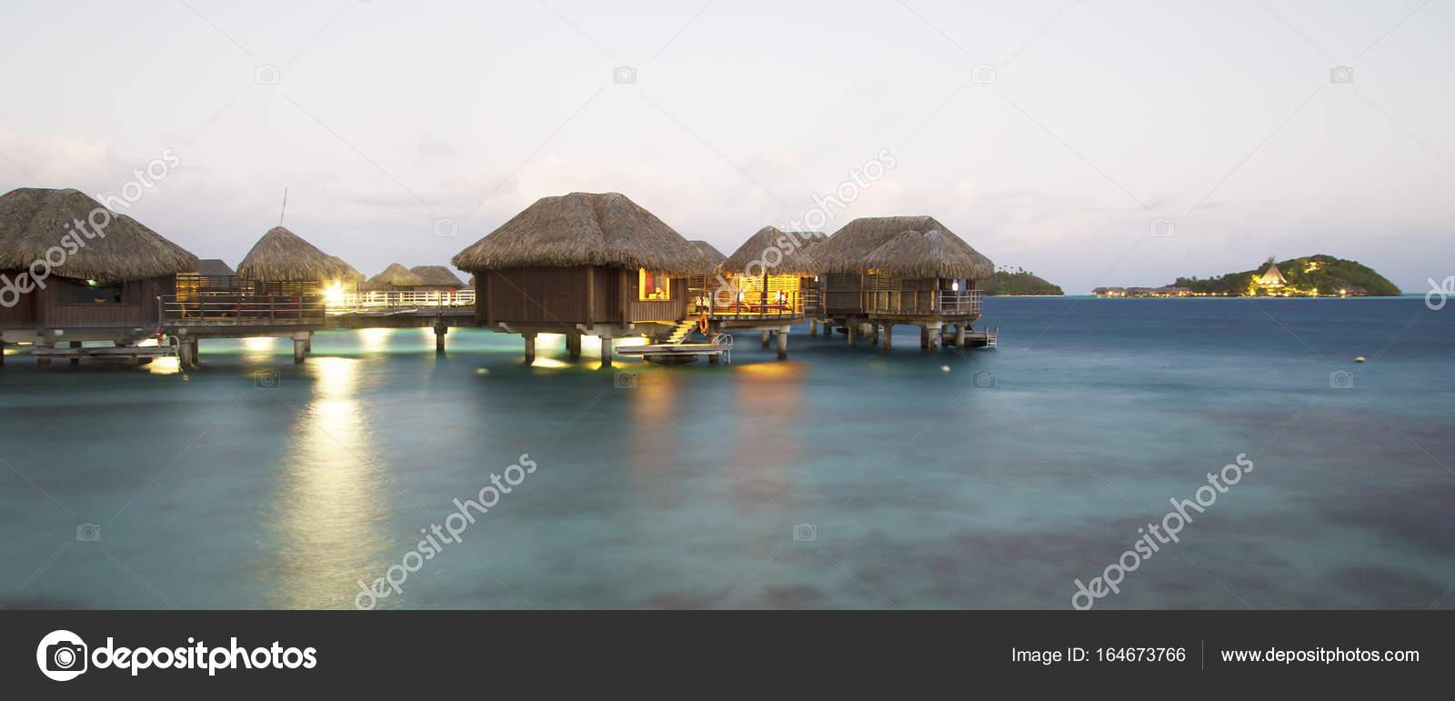 Overwater Bungalows At Dusk In Bora Bora Stock Editorial