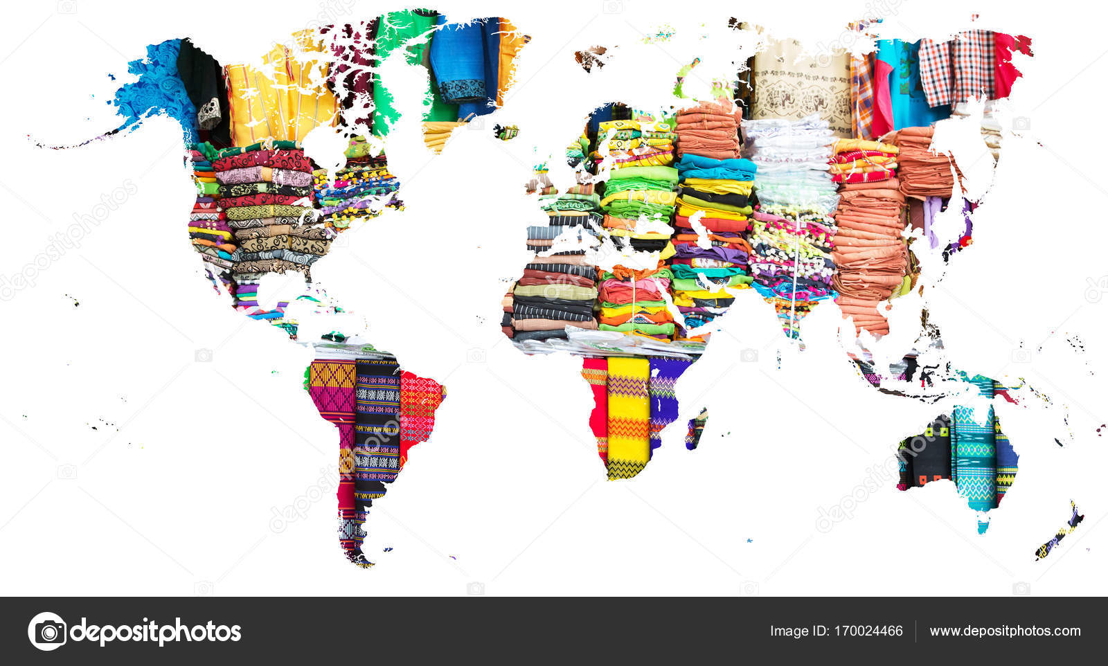 World map cut out in multi colored fabrics of myanmar stock photo cut out of the continents filled by multi colored fabrics of myanmar photo by toucanet gumiabroncs Gallery