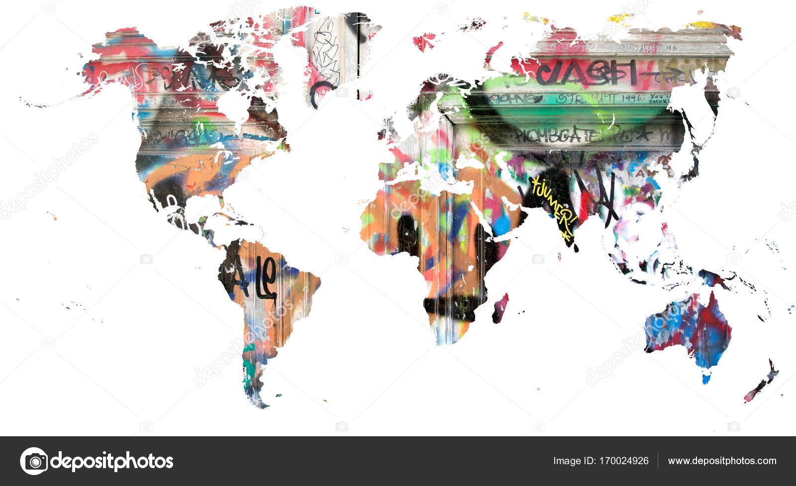 World map cut out in multi colored graffiti stock photo toucanet cut out of the continents filled by multi colored graffiti photo by toucanet gumiabroncs Choice Image