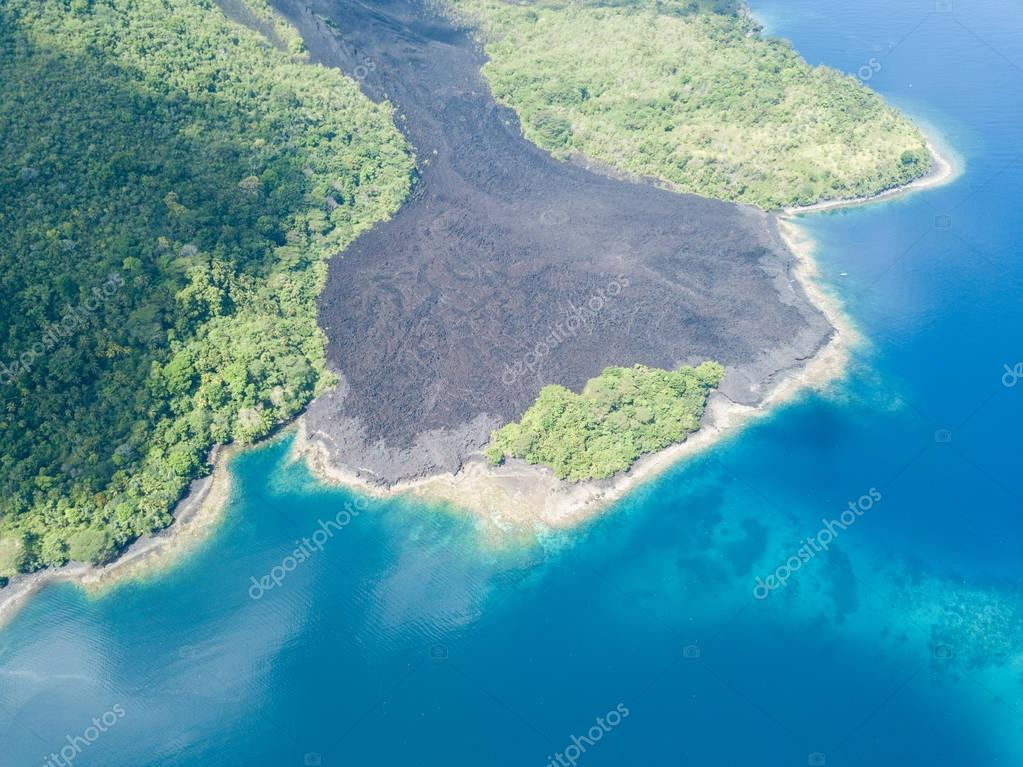 An old lava flow is seen on Banda Api in the Banda Islands of Indonesia. This tropical region, part of the Ring of Fire, is known for its extraordinary marine biodiversity.