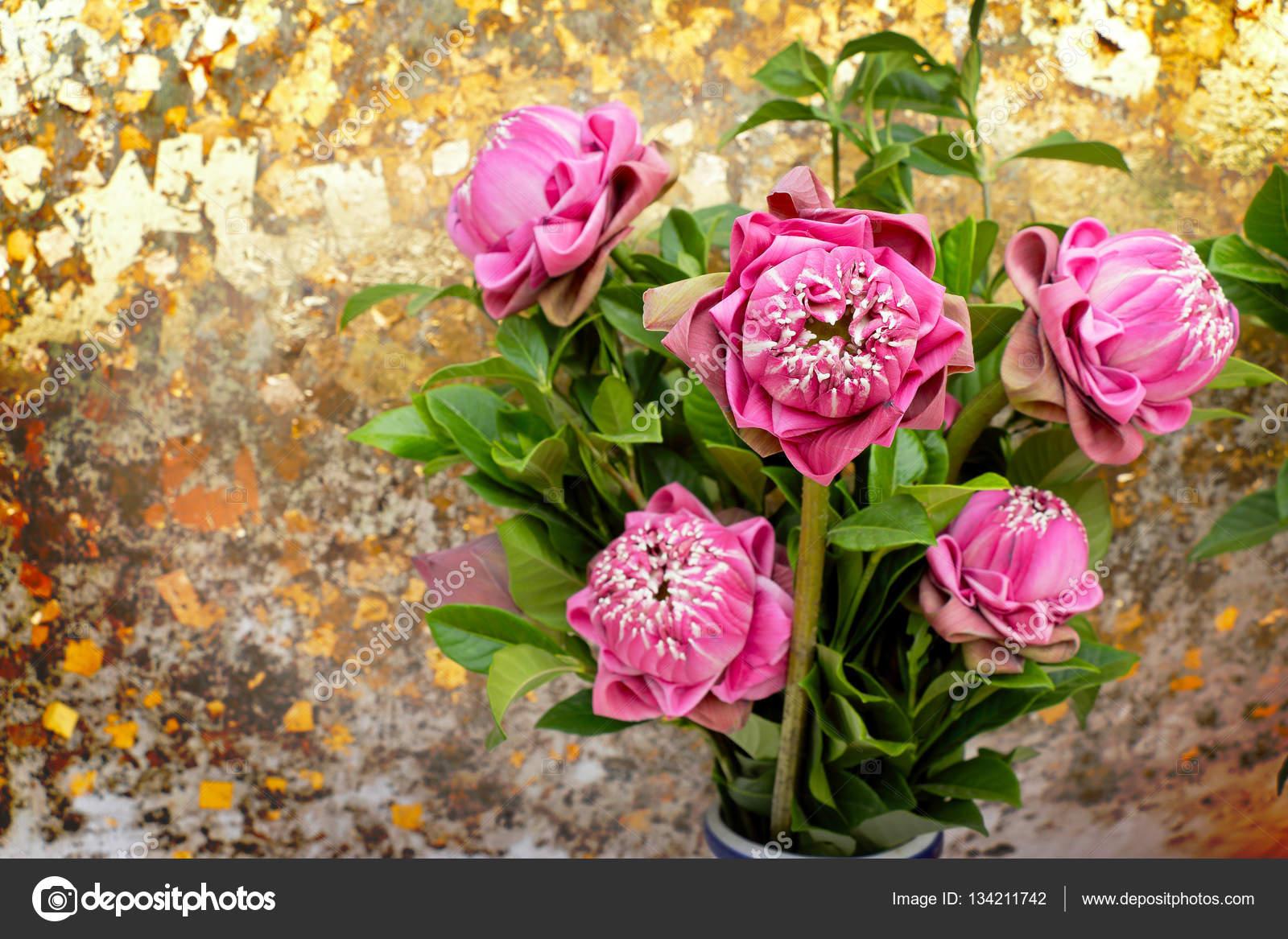 Pink Lotus Flowers In A Vase To Worship Stock Photo Thanasus