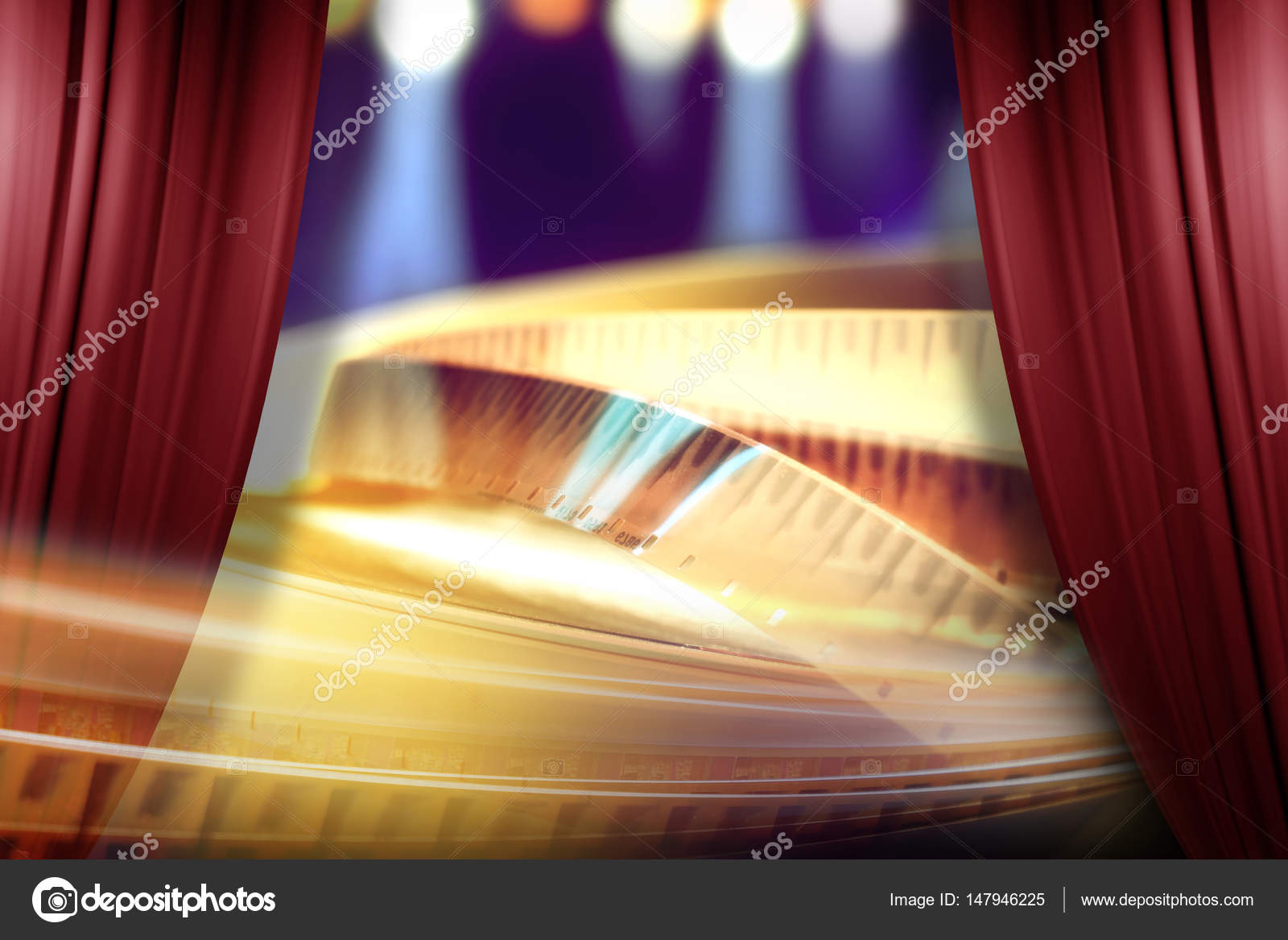 7898ec038 Film award on the spotlight background behind of open red curtain — Photo  by ...