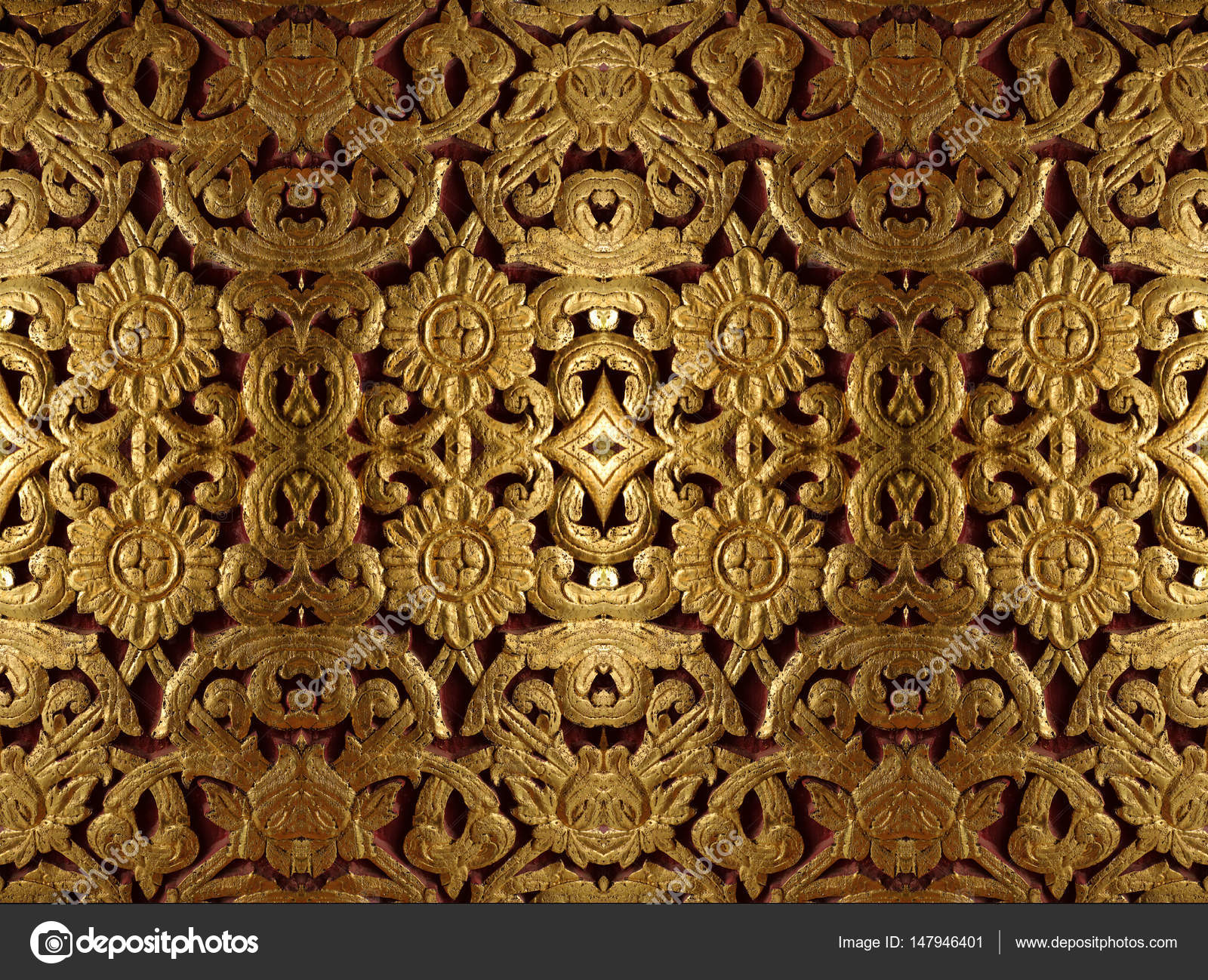 Gold Wood Carving In Flower Pattern Stock Photo