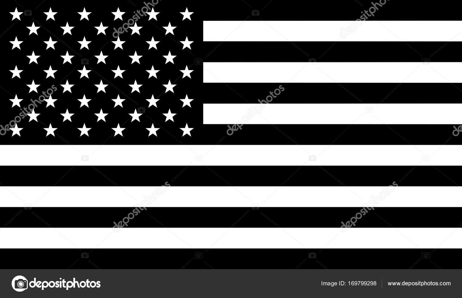Flagge der Vereinigten Staaten von Amerika mit schwarzen und weißen ...