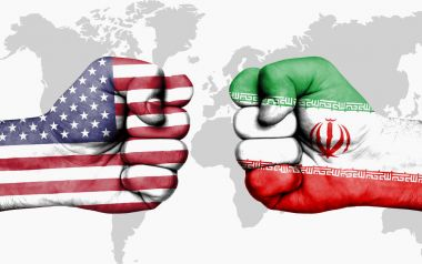 Conflict between USA and Iran - male fists