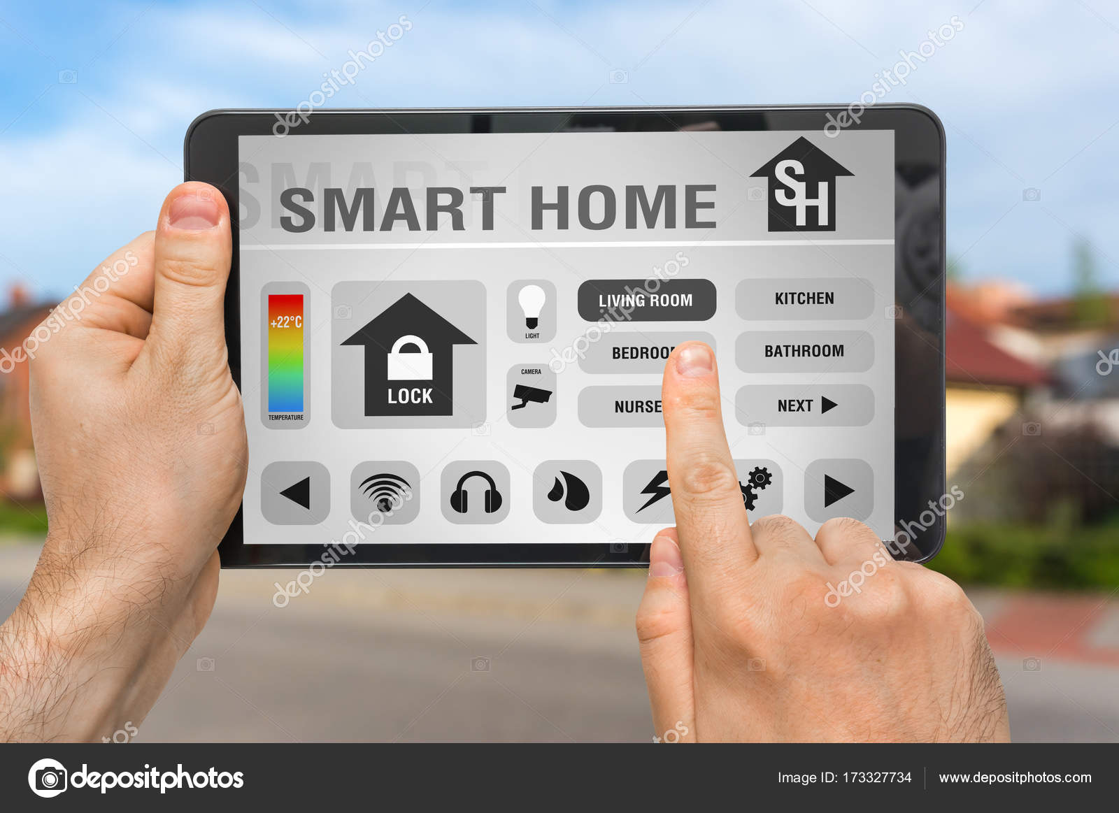 Smart home control app on tablet - smart home concept — Stock Photo ...