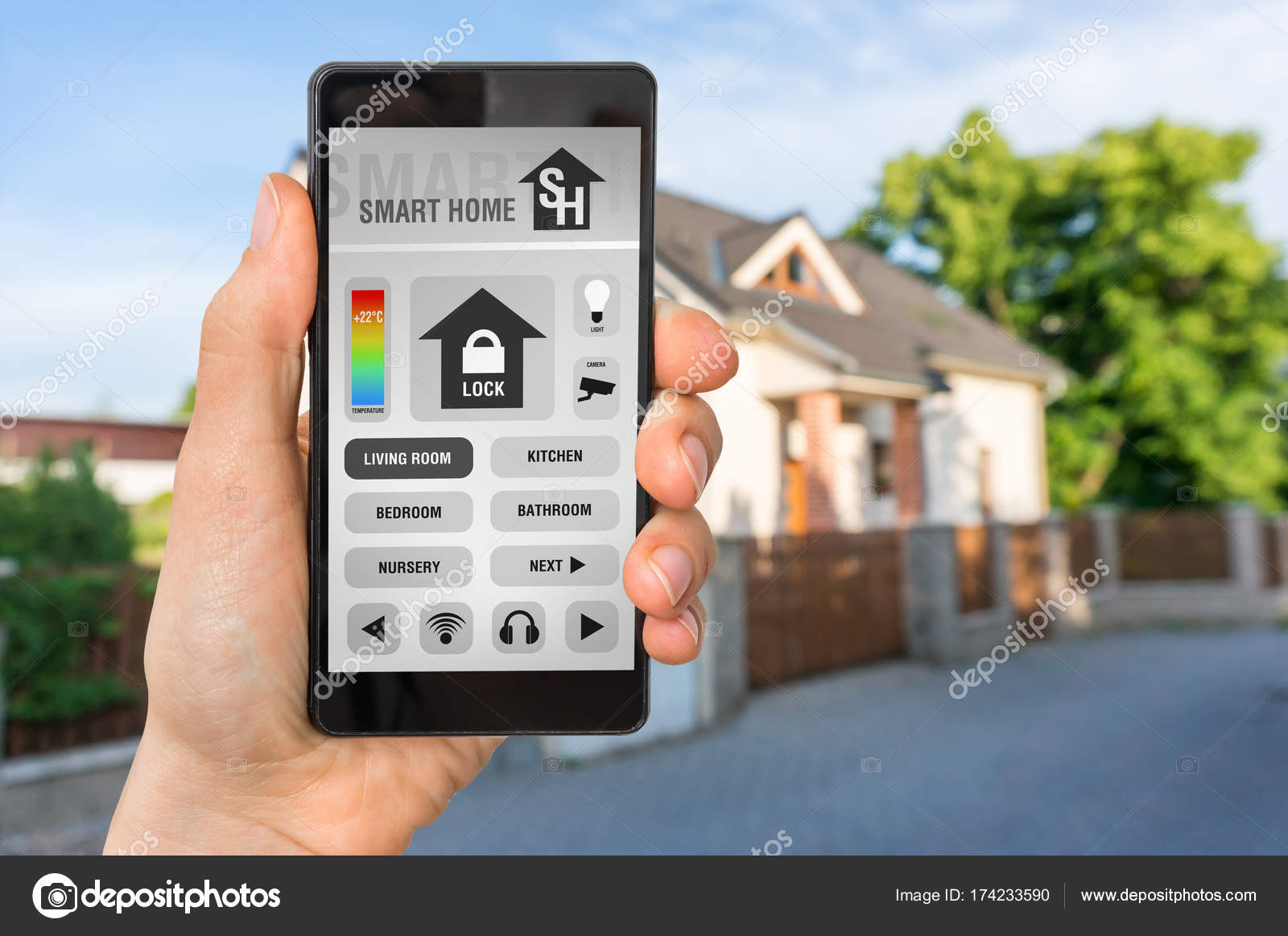 Smart home control app on smartphone - smart home concept — Stock ...