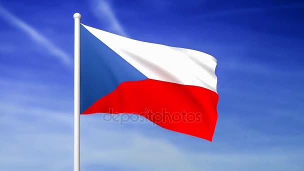 Mávání vlajkou České republiky na pozadí modré oblohy - 3d vykreslení
