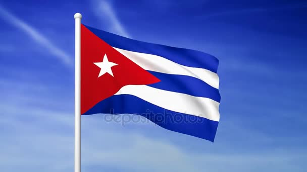 Waving flag of Cuba on the blue sky background - 3D rendered