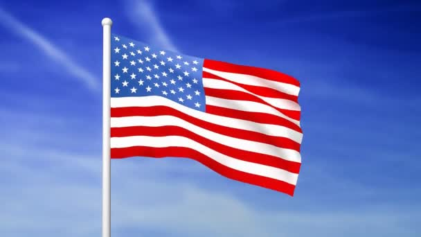 Waving flag of United States of America on the blue sky background - 3D rendered