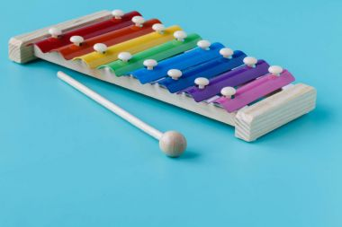 Wooden toy xylophone in rainbow colors. Educational toy for kids
