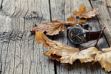 Fall leaf and watch. Seasoning Daylight savings time concept