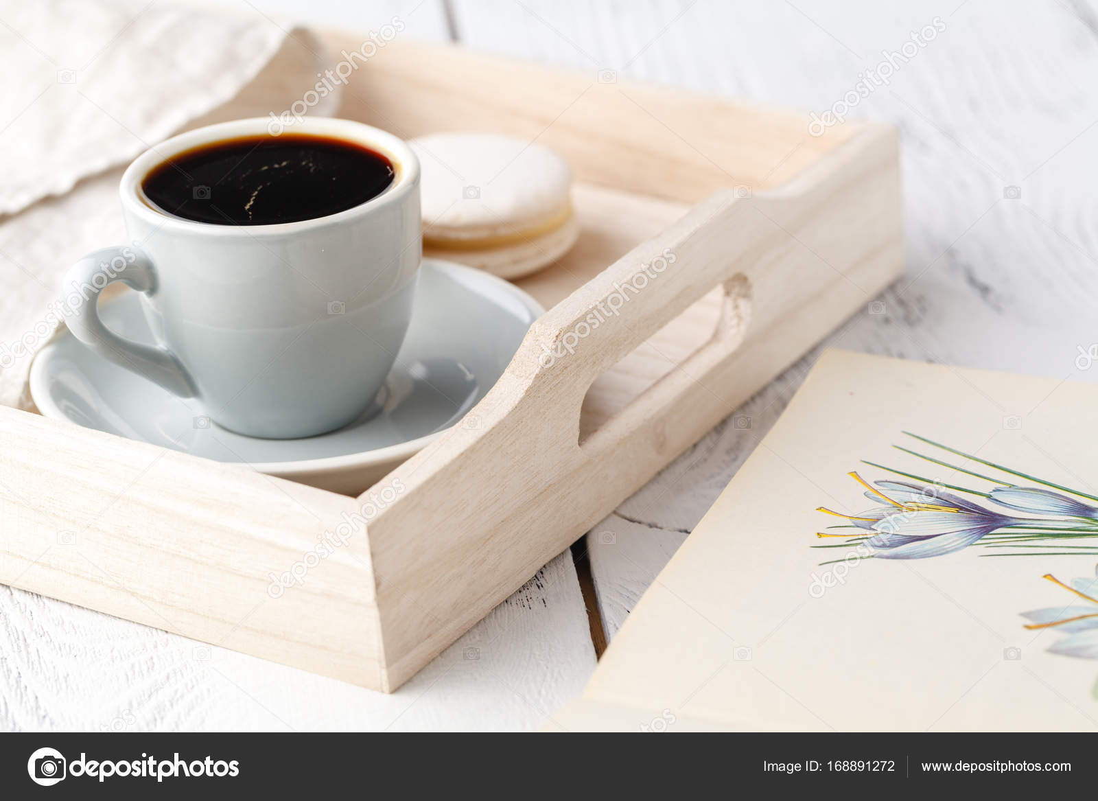 cup of tea on wooden tray on sofa in living room at home — Stock ...