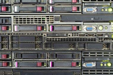 Server panel close-up, light effect