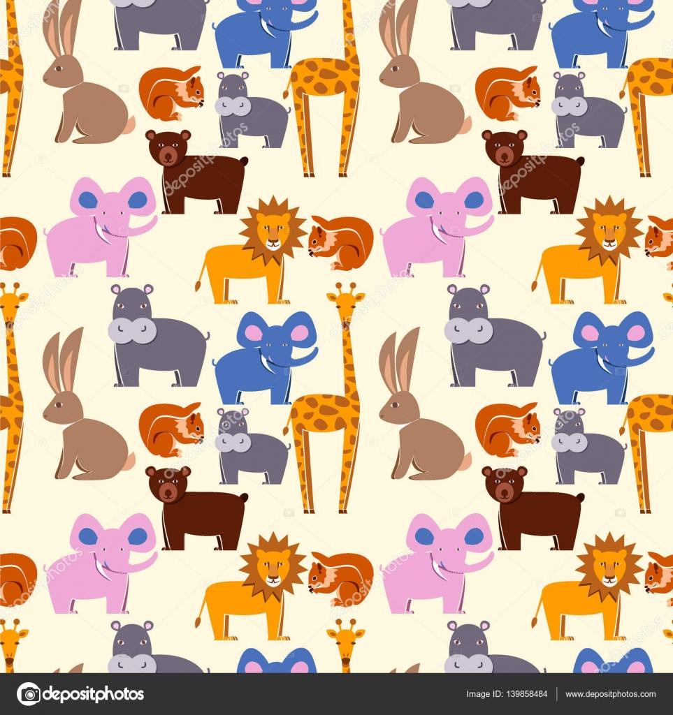 動物フラット セット、シームレスなパターン。動物園の動物、壁紙