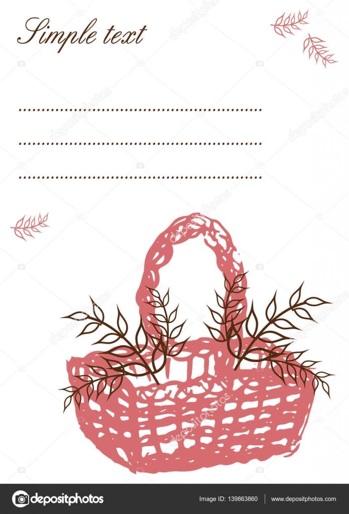 Plantilla de tarjeta postal con cesta dibujada a mano — Vector de ...