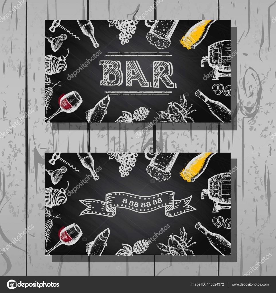 Conception De Carte Visite Bar Et Restaurant Bire Vin Ensemble Fond