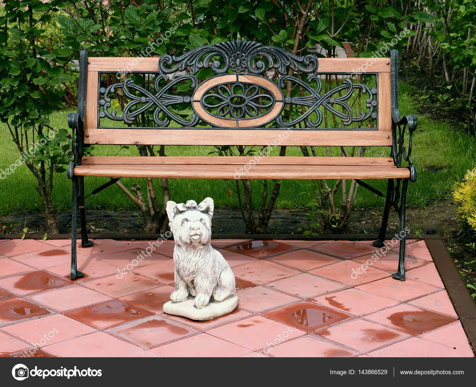 Awesome A Bench And A Sculpture Of A Small Dog In The Park Stock Squirreltailoven Fun Painted Chair Ideas Images Squirreltailovenorg