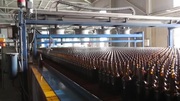 Řádky z pivních lahví v továrně.