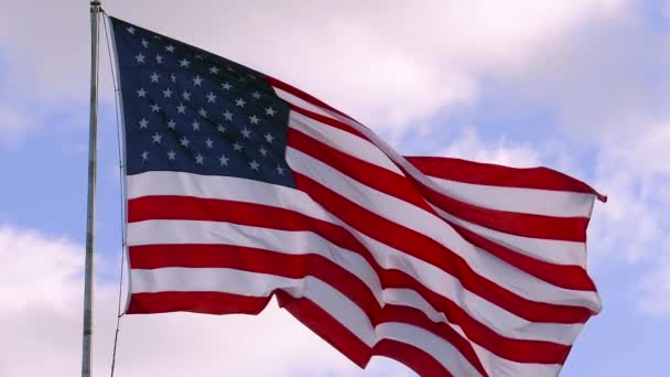 USA flag on flagpole, super slow motion video shot