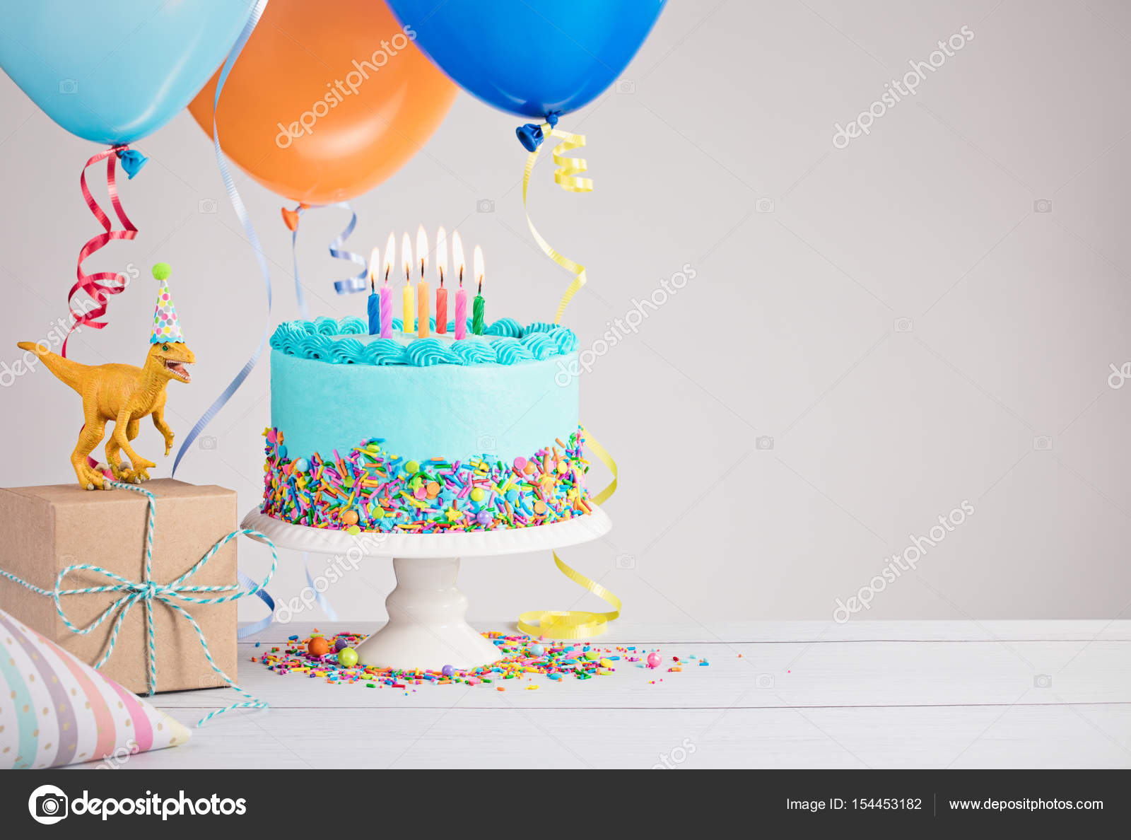 Blue Birthday Cake with Balloons Stock Photo juliannafunk 154453182