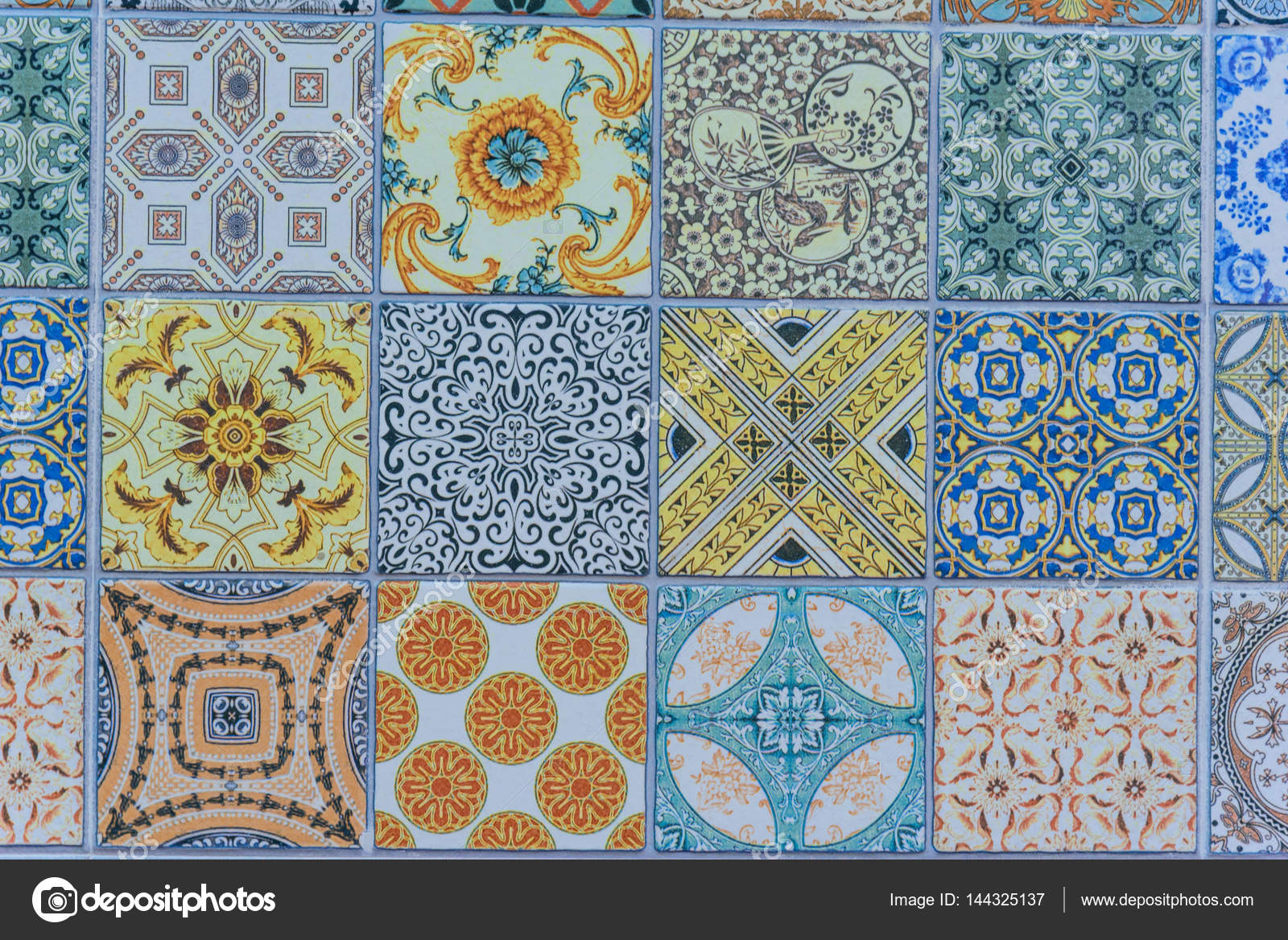 Wall ceramic tiles patterns Mega set from Thailand public park ...