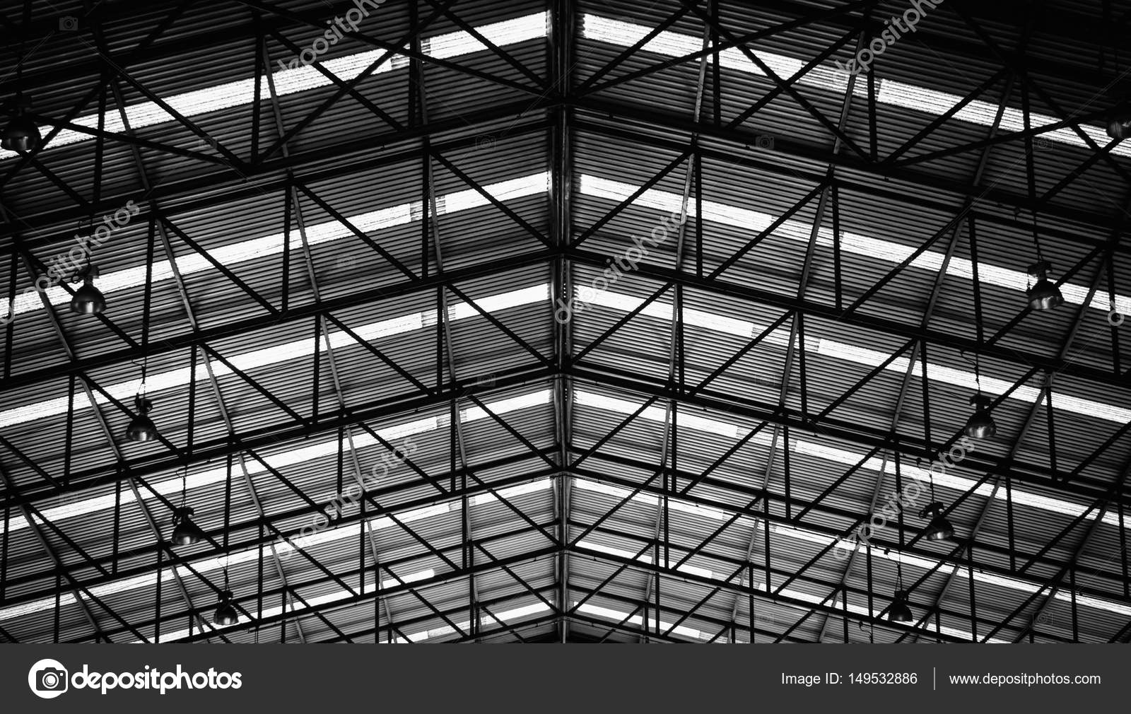 Black And White Image Of Steel Structure Roof Frame For Building Construction Photo By Nuttawutnuy