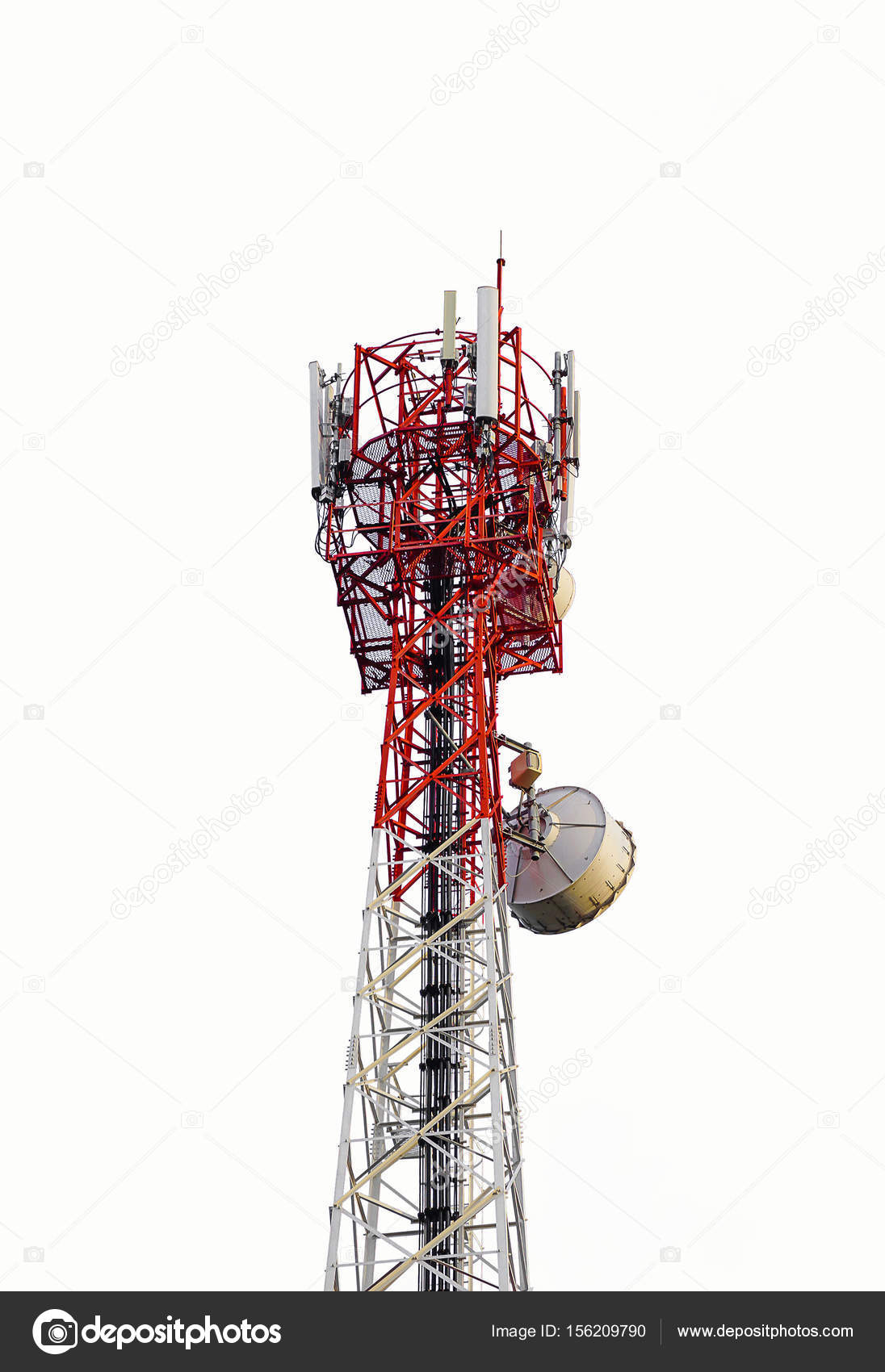Telecommunications antenna tower for mobile phone isolated on white