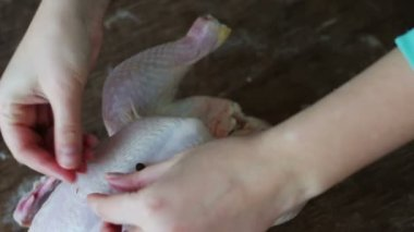 Hands preparing whole raw chicken on a wooden cooking board