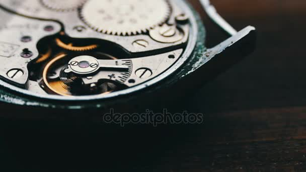 Clock Gears Mechanism, On a stylish wooden background