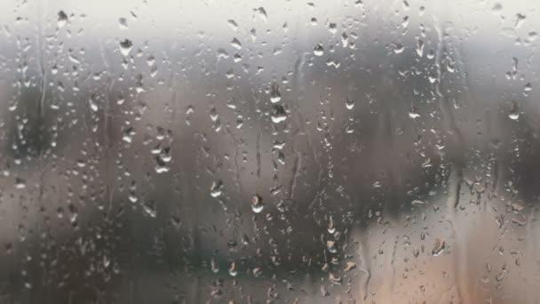 Dešťové kapky na skle v jarní odpoledne