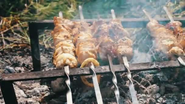 Výborné šťavnaté smažené maso na špízu, jen vařené na grill.leisure, jídlo a pití, lidé a svátků koncept - vaření masa na grilu
