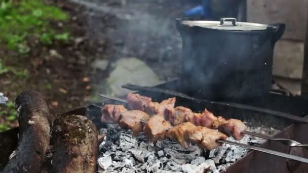 Výborné šťavnaté smažené maso na špízu, jen vařené na grill.on hrnec pozadí lidí a svátky koncept - vaření masa na grilu
